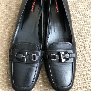 Prada Women's Black Leather Loafers.